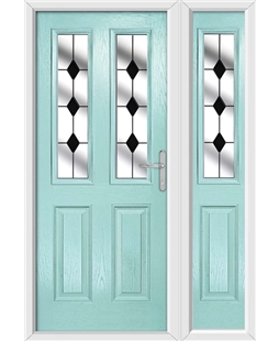 The Cardiff Composite Door in Blue (Duck Egg) with Black Diamonds and matching Side Panel