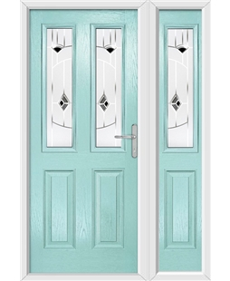 The Cardiff Composite Door in Blue (Duck Egg) with Black Murano and matching Side Panel