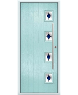 The Norwich Composite Door in Blue (Duck Egg) with Blue Diamonds