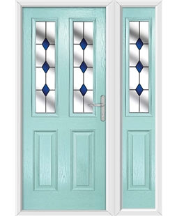 The Cardiff Composite Door in Blue (Duck Egg) with Blue Diamonds and matching Side Panel
