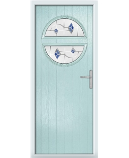 The Queensbury Composite Door in Blue (Duck Egg) with Blue Murano