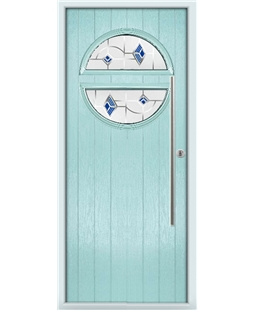 The Xenia Composite Door in Blue (Duck Egg) with Blue Murano