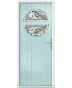 The Queensbury Composite Door in Blue (Duck Egg) with Brass Art Clarity