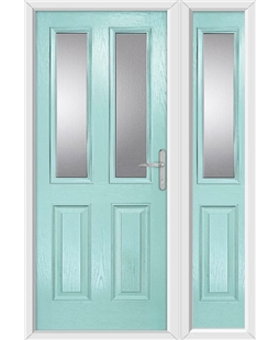 The Cardiff Composite Door in Blue (Duck Egg) with Clear Glazing and matching Side Panel