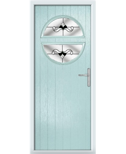The Queensbury Composite Door in Blue (Duck Egg) with Black Crystal Bohemia