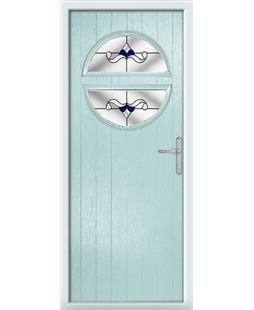 The Queensbury Composite Door in Blue (Duck Egg) with Blue Crystal Bohemia