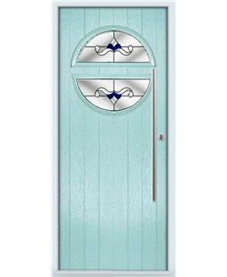 The Xenia Composite Door in Blue (Duck Egg) with Blue Crystal Bohemia
