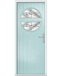 The Queensbury Composite Door in Blue (Duck Egg) with Clear Crystal Bohemia