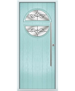 The Xenia Composite Door in Blue (Duck Egg) with Clear Crystal Bohemia