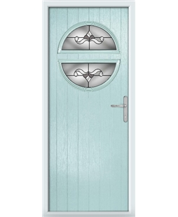 The Queensbury Composite Door in Blue (Duck Egg) with Crystal Bohemia Frost