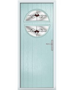 The Queensbury Composite Door in Blue (Duck Egg) with Red Crystal Bohemia