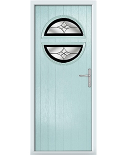 The Queensbury Composite Door in Blue (Duck Egg) with Black Crystal Harmony