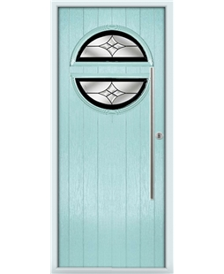 The Xenia Composite Door in Blue (Duck Egg) with Black Crystal Harmony