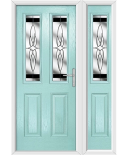 The Cardiff Composite Door in Blue (Duck Egg) with Black Crystal Harmony and matching Side Panel