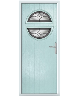 The Queensbury Composite Door in Blue (Duck Egg) with Crystal Harmony Frost