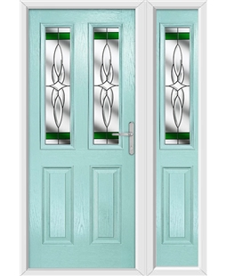 The Cardiff Composite Door in Blue (Duck Egg) with Green Crystal Harmony and matching Side Panel