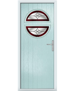 The Queensbury Composite Door in Blue (Duck Egg) with Red Crystal Harmony