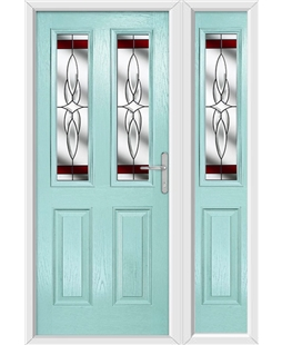 The Cardiff Composite Door in Blue (Duck Egg) with Red Crystal Harmony and matching Side Panel