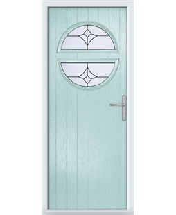 The Queensbury Composite Door in Blue (Duck Egg) with Crystal Tulip Arch