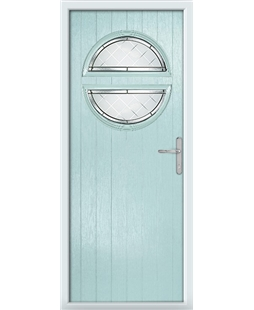 The Queensbury Composite Door in Blue (Duck Egg) with Diamond Cut