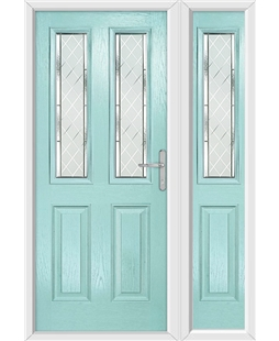 The Cardiff Composite Door in Blue (Duck Egg) with Diamond Cut and matching Side Panel