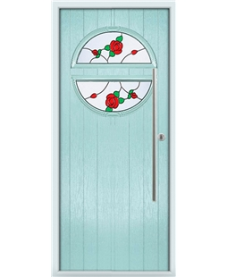The Xenia Composite Door in Blue (Duck Egg) with English Rose