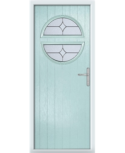 The Queensbury Composite Door in Blue (Duck Egg) with Flair Glazing