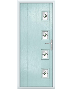 The Preston Composite Door in Blue (Duck Egg) with Green Fusion Ellipse