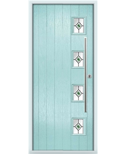The Norwich Composite Door in Blue (Duck Egg) with Green Fusion Ellipse