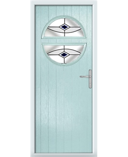 The Queensbury Composite Door in Blue (Duck Egg) with Black Fusion Ellipse