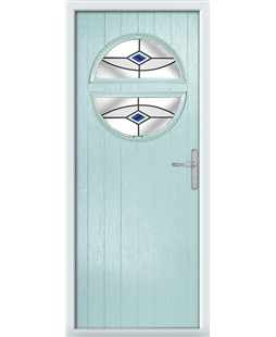 The Queensbury Composite Door in Blue (Duck Egg) with Blue Fusion Ellipse