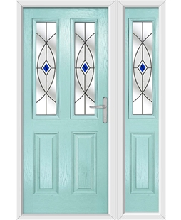 The Cardiff Composite Door in Blue (Duck Egg) with Blue Fusion Ellipse and matching Side Panel