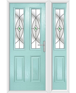 The Cardiff Composite Door in Blue (Duck Egg) with Green Fusion Ellipse and matching Side Panel