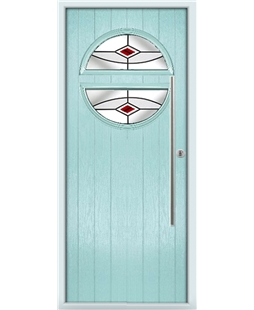 The Xenia Composite Door in Blue (Duck Egg) with Red Fusion Ellipse