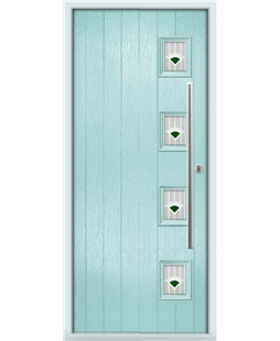 The Norwich Composite Door in Blue (Duck Egg) with Green Murano