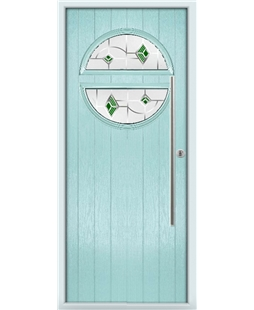 The Xenia Composite Door in Blue (Duck Egg) with Green Murano