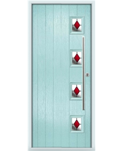 The Norwich Composite Door in Blue (Duck Egg) with Red Diamonds