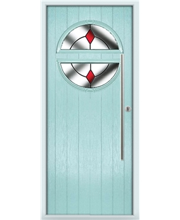The Xenia Composite Door in Blue (Duck Egg) with Red Diamonds