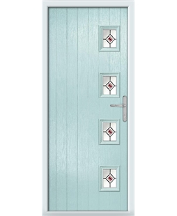 The Preston Composite Door in Blue (Duck Egg) with Red Fusion Ellipse