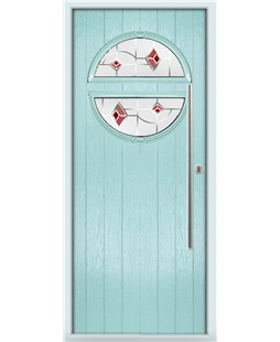 The Xenia Composite Door in Blue (Duck Egg) with Red Murano
