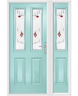 The Cardiff Composite Door in Blue (Duck Egg) with Red Murano and matching Side Panel