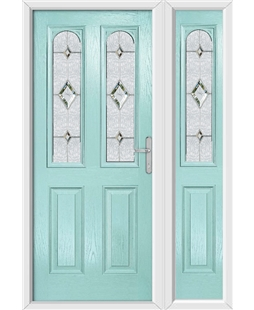 The Aberdeen Composite Door in Blue (Duck Egg) with Crystal Diamond and matching Side Panel