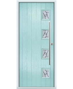 The Norwich Composite Door in Blue (Duck Egg) with Zinc Art Abstract