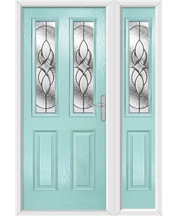 The Cardiff Composite Door in Blue (Duck Egg) with Zinc Art Elegance and matching Side Panel
