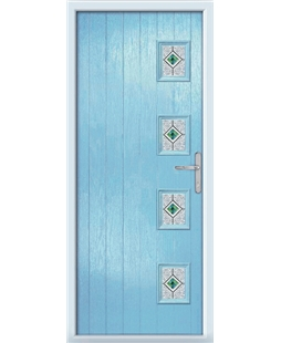 The Preston Composite Door in Blue (Duck Egg) with Green Daventry