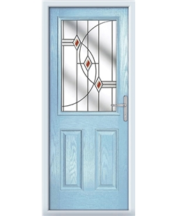 The Farnborough Composite Door in Blue (Duck Egg) with Red Fusion Ellipse