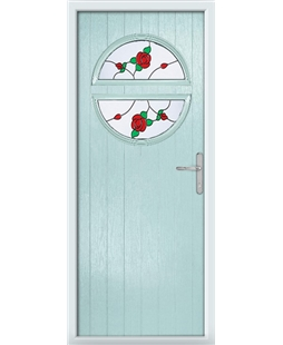 The Queensbury Composite Door in Blue (Duck Egg) with English Rose