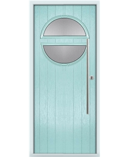 The Xenia Composite Door in Blue (Duck Egg) with Clear Glazing