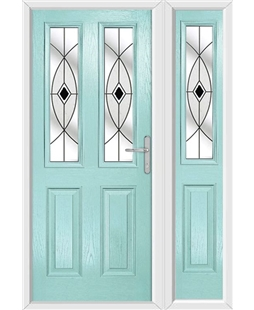 The Cardiff Composite Door in Blue (Duck Egg) with Black Fusion Ellipse and matching Side Panel