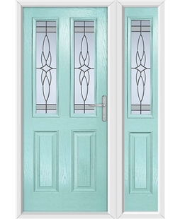 The Cardiff Composite Door in Blue (Duck Egg) with Crystal Harmony Frost and matching Side Panel